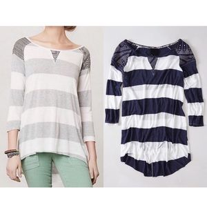 Anthropologie Blue & White Patched Stripe Top Sz L